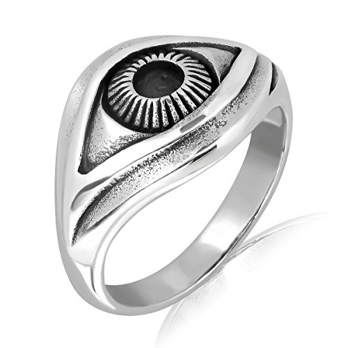WithLoveSilver 925 Sterling Silver Ancient Egyptian Eye of Horus Symbol of Protection Ring (9)