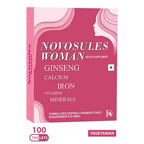 Multivitamins For Women (30/60/100 Veg Tablets) | Novosules Woman: Ginseng + Extra Calcium + Extra Iron + Biotin For Hair & Nails + Antioxidants For Immunity + Multivitamin + Multimineral Tablets