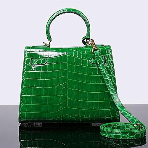 Bag Leather Handle Handbags Green Women's Crocodile Top Embossed Patent ZTqHw0x