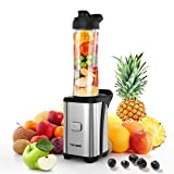 Homgeek Personal Blender Stainless Steel Single Serve Blender Portable Fruits Juice Extractor Vegetables Mixer for Shakes and Smoothies with BPA-Free Travel Sport Cup