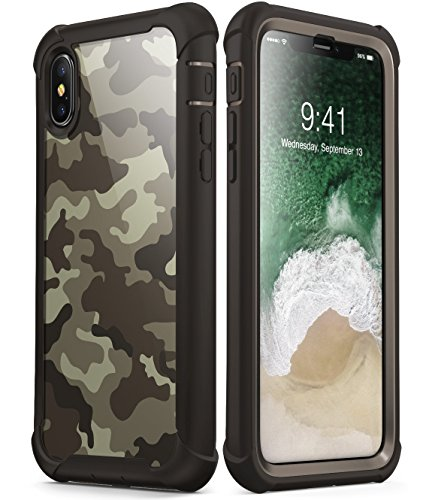 i-Blason Case for iPhone X 2017/ iPhone Xs 2018, [Ares] Full-Body Rugged Clear Bumper Case with Built-in Screen Protector (Desert)
