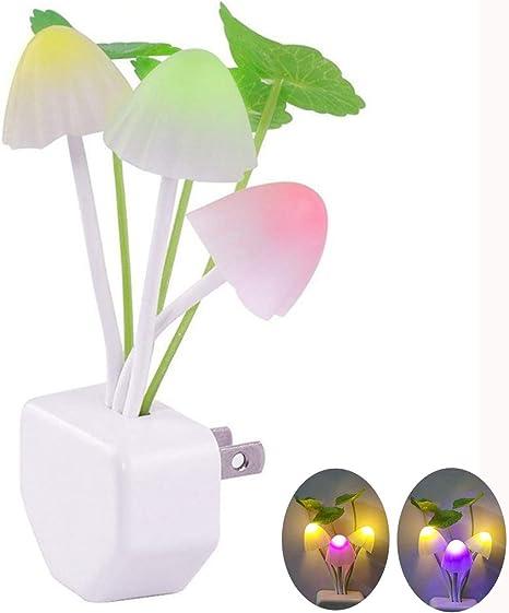 Mushroom Rabbit LED Night Light Sensor Bedside Wall Energy Saving Lamp US Plug