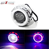 AllExtreme Projector Lamp High Intensity Led Headlight Stylish Dual Ring COB LED Inside Double Angel's Eye Ring Lens Projector For - All Bikes (Red & White)