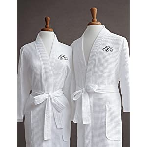 Luxor Linens Egyptian Cotton Waffle Weave Robe with His/Hers Couple's Embroidery, Black Monogram