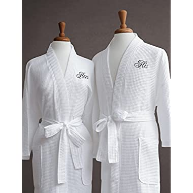 Luxor Linens Egyptian Cotton Waffle Weave Robe with Couple's Embroidery - Perfect Wedding Gift! (His/Hers)