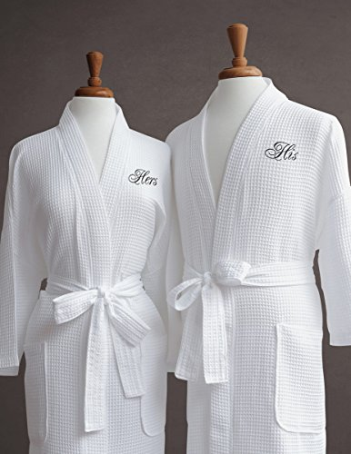 Luxor Linens Egyptian Cotton Waffle Weave Robe with Couple's Embroidery - Perfect Wedding Gift! (His/Hers) with Gift Packaging!