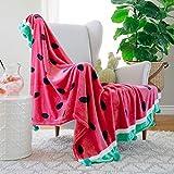 """AVAFORT Velvet Plush Home Fleece Throw Blanket (Watermelon, 50"""" x 60"""")"""
