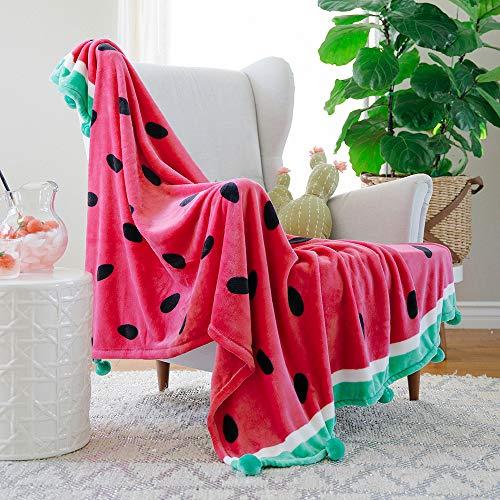 (AVAFORT Velvet Plush Home Fleece Throw Blanket (Watermelon, 50