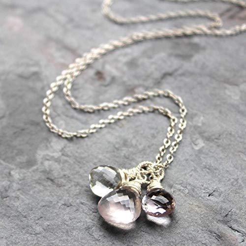 Rose Quartz Multi Gemstone Necklace Sterling Silver Pendant Trio Pink Amethyst 18 Inch (Pink Amethyst Pendant)