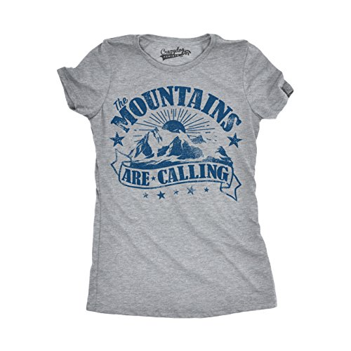 Crazy Dog T-Shirts Womens The Mountains Are Calling Cool Sunset Vintage Rockies Funny Hiking Nature T Shirt (Grey) M (Tee Dog T-shirt Vintage)
