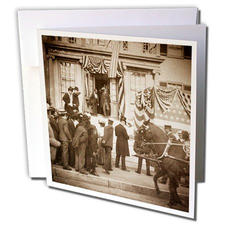 - Scenes from the Past Stereoview - Teddy Roosevelt in Augusta Maine 1902 vintage stereoview. - 6 Greeting Cards with envelopes (gc_240487_1)