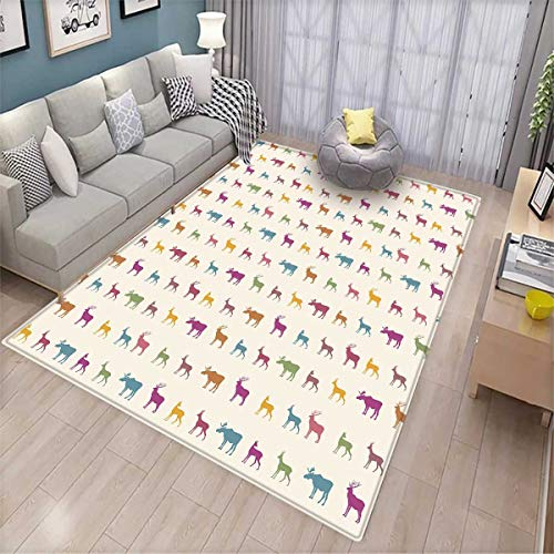 Deer Area Rugs for Bedroom Animals with Antlers Wildlife Pattern African Inspired Colorful Creature Silhouettes Door Mats for Inside Multicolor (Silhouette Antlers Deer)