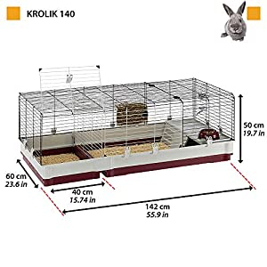 Ferplast-Jaula-para-Conejos-KROLIK-140-Conejillos-de-Indias-pequenos-Animales-en-Kit-de-Montaje-extension-Separable-Mediante-una-Rejilla-metalica-Accesorios-incluidos-142-x-60-x-h-50-cm-Burdeos