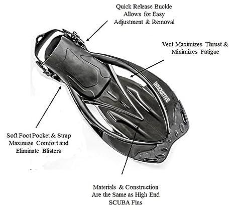 Fins Innovative Scuba Concepts MSF4611 REEF Snorkel and Bag Mask Adult Snorkel Set
