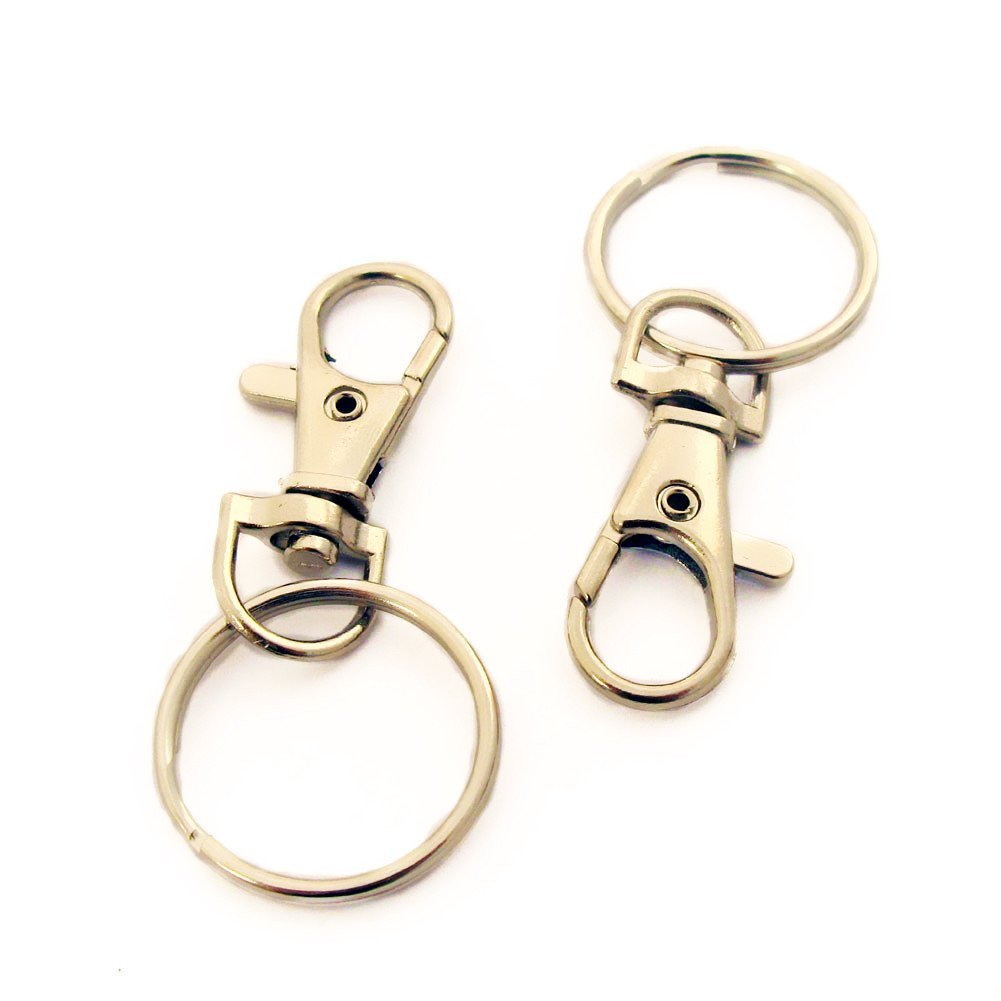 12 lobster swivel clasps,keyrings,mini clips,39mm,with 25mm split ring chelford 604