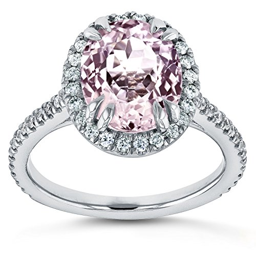 Oval Cut Pink Kunzite and Diamond Halo Ring 3 7/8ct CTW 14k White Gold, 5