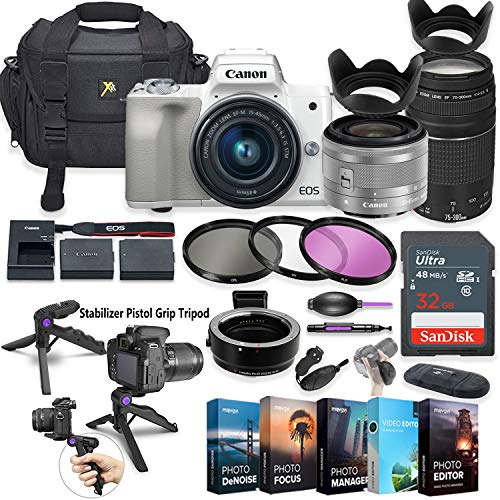 Canon EOS M50 Mirrorless Digital Camera with 15-45mm Lens (White) + Canon EF 75-300mm f/4-5.6 III Lens + 5 Photo/Video Editing Software Package & Accessory Kit