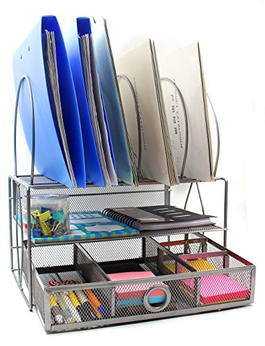 EasyPAG Mesh Desk Organizer Tray with 5 File Sorter Sections Double Letter Tray and Drawer,Silver