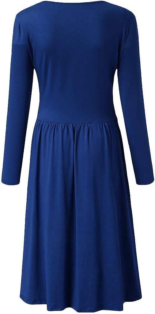 OFEFAN Womens Long Sleeve V-Neck Wrap Waist Casual Elegant Midi Dress with Pockets
