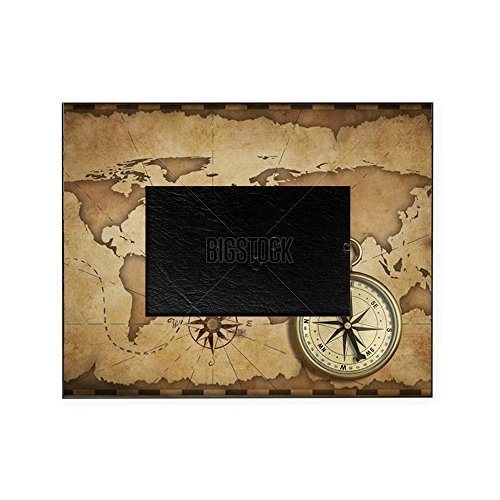 CafePress - Aged Brass Antique Nautical Compass - Decorative 8x10 Picture Frame