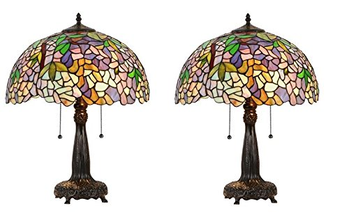 - Wisteria Tiffany Style Stained Glass Table Lamp