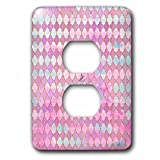 3dRose Uta Naumann Faux Glitter Pattern - Luxury Shiny Gold and Pink Moroccan Arabic Quatrefoil Tile Pattern - Light Switch Covers - 2 plug outlet cover (lsp_266901_6)
