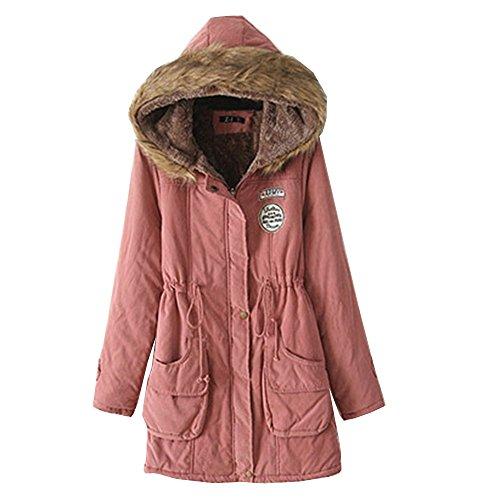 Mujer EMMA para de Caliente Clásico Abrigo de de Lana Invierno Encapuchado Gran Rosa Tamaño wqIU4a