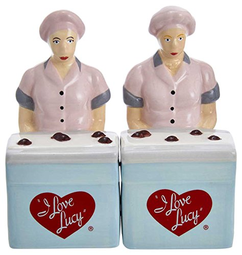 (Kurt S. Adler Love Lucy Chocolate Factory Handpainted Ceramic 2-Piece Set Salt and Pepper Shaker)