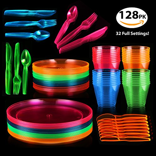 128 Piece Neon Party Supplies Set - Disposable & Heavy Duty, Includes: 32 Main Course 9 inch Plate, 6 inch Dessert Plates , 9-ounce Tumblers, Cutlery, Glow in the Dark Great for Blacklight UV Parties