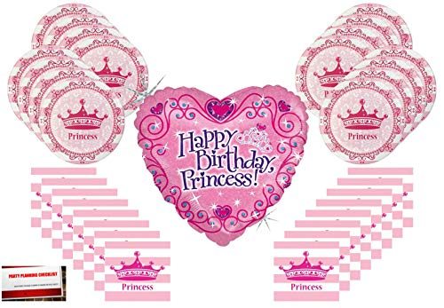 Pink Birthday Princess Party Supplies Bundle Pack for 16 with Large 18 Inch Princess Balloon (Plus Party Planning Checklist by Mikes Super Store)