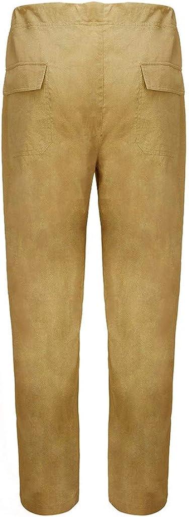 Nouveau Pantalon de Grande Taille en Lin pour Hommes,Ample et Confortable Excellent Rapport Qualit/é//Prix,Kinlene Pantalon de Travail D/éContract/é pour Homme
