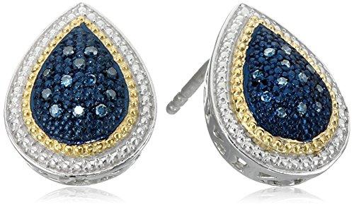 (Sterling Silver Blue Diamond Pear Shape Stud Earrings)
