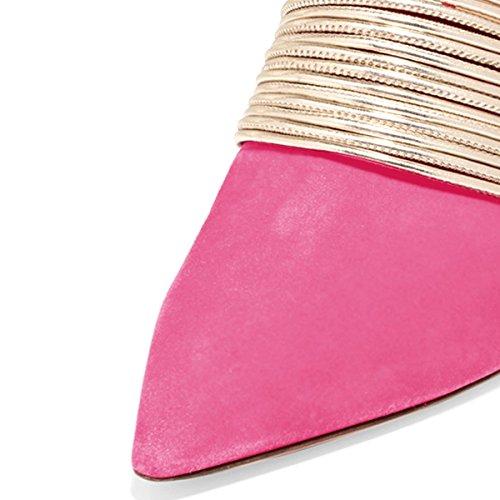 Vestono Ydn Della Sottolineato Sul Scarpe Sandali Punta Donne Stiletto Scivolare Caldo Asinina Rosa Tallone Pompe Comode C5gHw