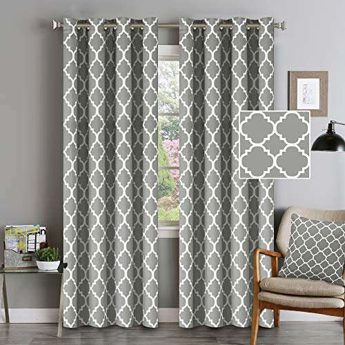 Flamingo P Light Blocking Moroccan Insulated Blackout Drapes Printed Window Curtains for Living Room, Grommet Top, Set of Two Panels, Each 84 by 52- Dove Gray