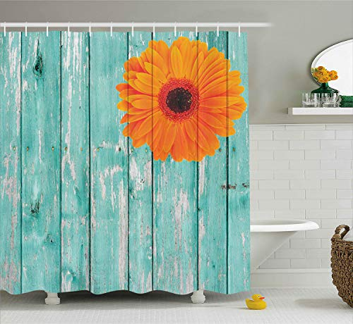 Ambesonne Rustic Barn Decor Shower Curtain Set, Daisy on Vintage Wood Barn Fence Picture Fresh Gerbera Flower Grunge Artsy Print, Bathroom Accessories Collection, Polyester Fabric,Mint Orange