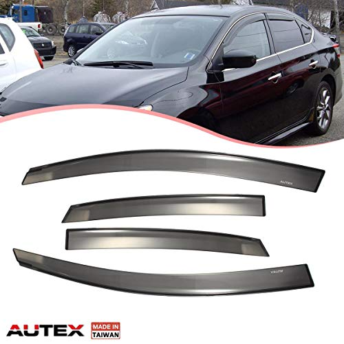 AUTEX Tape on Window Visor Compatible with Sentra 2013 2014 2015 2016 2017 Side Window Wind Deflector Sun Rain Guard