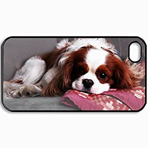Customized Cellphone Case Back Cover For iPhone 4 4S, Protective Hardshell Case Personalized Dog Puppy Is Black