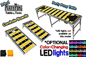2-in-1 Cornhole Boards & Beer Pong Table w/ Optional LED Glow Lights - Pittsburgh Football Field at Steeler Mania