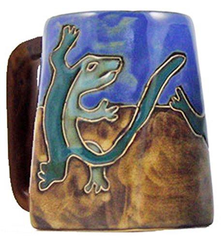 One (1) MARA STONEWARE COLLECTION - 12 Ounce Coffee Cup Collectible Square Mug - Gecko Lizard/Desert Design