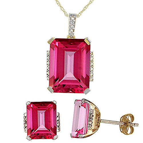 Or jaune 9Ct naturel octogone Rose Topaze Boucles d'oreilles et pendentif Set Accents de diamant