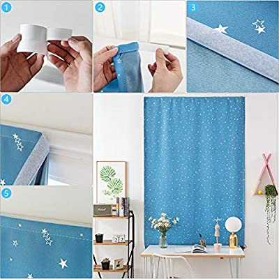 Beige, 60 x 150 cm Prosperveil Portable Blackout Blinds Stick on Stars Pattern Window Blackout Curtains for Kids Children Bedroom Nursery Baby Room with Curtain Tie Back