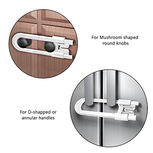 Cabinet Locks for Child Safety, 8 Pack Baby Proofing U-Shaped Sliding Cabinet Locks Latches for Knobs and Handles - Easy Install Without Drilling or Adhesive by Cynkie (Image #4)