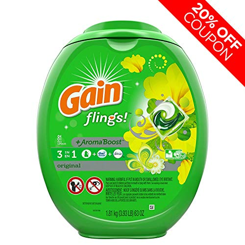 Jets Putting Green - Gain Flings Laundry Detergent Pacs, Original Scent, 81 count