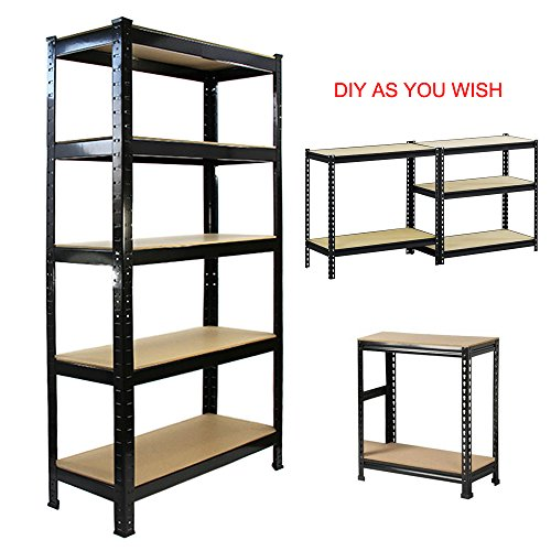 Open Adjustable Steel Shelving (FCH Large Capacity 5 Tier Shelf Height Adjustable Heavy Duty Storage Rack Shelf Garage Steel Metal Shelving Unit (BLACK, S))