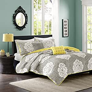 Intelligent Design Tanya 5 Piece Coverlet Set, Grey, King/California King