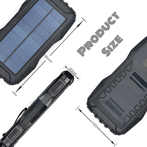 lightweight Solar Charger TOENNESEN energy Bank Charger 25000mAh Capacity utilizing LED Flashlight 2 USB Ports for Smartphone iPhone Samsung Galaxy iPad GoPro Camera GPSBlack External Battery Packs