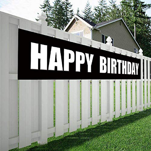 (Maplelon Black White Happy Birthday Banner, Huge Bday Sign, Large Hanging Party Decorations Supplies)