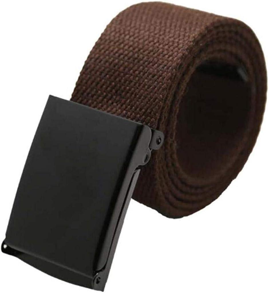 Cintur/ón t/áctico de lona para hombre de color liso y hebilla met/álica Maikun