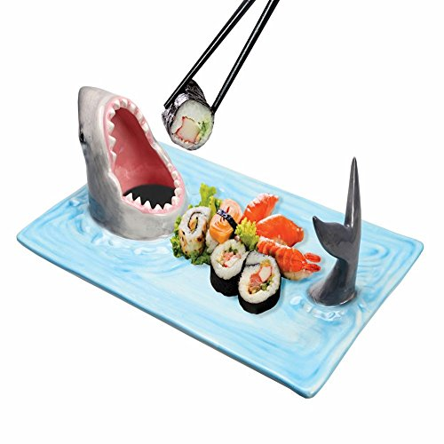 (WHAT ON EARTH Shark Attack Hand-Painted Ceramic Sushi Serving Platter)