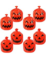 Deloky 8 Pieces Halloween Large Pumpkin Lawn Bags-24 x 30 Inch Fall Plastic Leaf Trash Bags with Twist Ties, Pumpkin Pattern Lawn Bags for Fall Decorations Outdoor Halloween (8PCS)